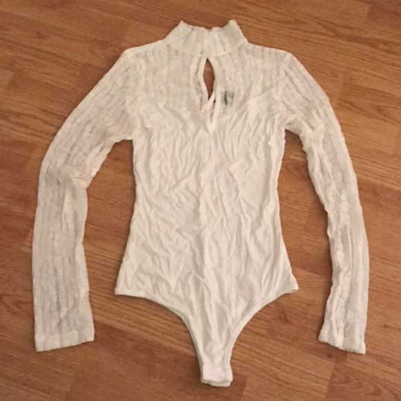 Privately Privileged Tops White Long Sleeve Lace Bodysuit Poshmark